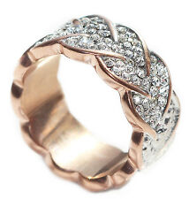 Decorative Rose Gold Over Stainless Steel Abstract Heart Simulated Diamond Ring.