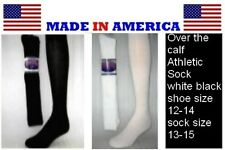Men Big & Tall BLACK or WHITE Over The Calf Athletic Sock Shoe 12-14 wholesale