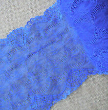 "3 - 4.7 Yards 7"" Wide Lovely Stretch Floral Lace Middle Blue  415"