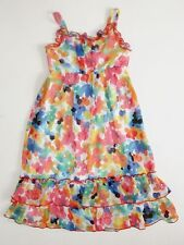NWT Girls Youngland 4-6 Bright Pink Blue Orange Watercolor Floral Chiffon Dress