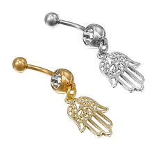 1 Pc Retro Stainless Steel Hamsa Hand Belly Navel Ring Dangle Bar Piercing