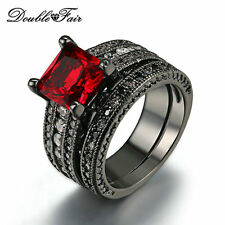 Princess Cut Wedding Ring Set Black Gold Plated Imitation Ruby Jewelry For Women