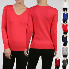 Women Casual Long Sleeve V-Neck Classic Thin Career Pullover Light Knit Sweater