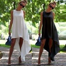 New Women Sexy Sleeveless Casual Asymmetric Hem Loose Dress O-Neck Hot sale WT88