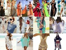 Sexy Women Bikini Swimwear Cover Up Beach Dress Mesh Hollow Crochet Slit Skirt