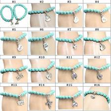 1pcTibetan Turquoise Bead Elastic Bracelet With Pendant Charms Stretch Jewelry