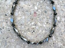 Women's Necklace Anklet Bracelet Magnetic Hematite w Black Crystal AAA BEAUTIFUL