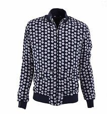 DOLCE & GABBANA Polka Dot Viscose Jacket with Jersey Trim Blue Beige 04595