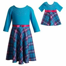 Dollie & Me Girl 4-14 and Doll Matching Blue Plaid Dress Clothes American Girl