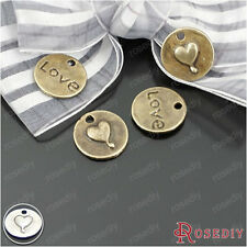 50PCS 15MM Alloy Round LOVE Heart Charms Pendants Jewelry Accessories 22950