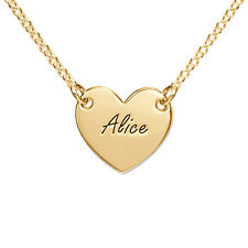 Engraved Heart Any Name Necklace, 18k Gold Plated, Personalized Heart Necklace