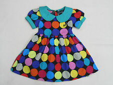Girls Clothes Coloured Polka Dot Black Cotton Dress Age 1 - 6 Yrs UK New
