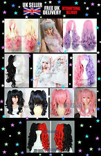Pink Mixed Purple Blue Blonde Long Curly Anime Cosplay Hair Wig Lolita Harajuku