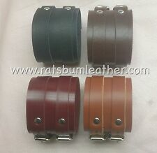 A PAIR 2 strap Leather wrist band cuff Bracelet Depp Elliott smith wristcuff