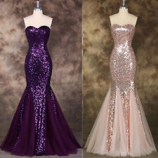 Women Sequins Mermaid Long Wedding Evening Party Prom Cocktail Formal Dress Gown