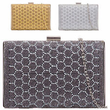 Ladies Designer Diamante Box Clutch Bag Glittery Bridal Evening Bag Handbag K925
