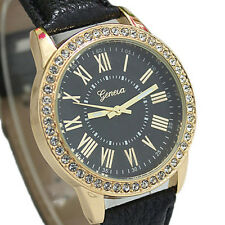 New Womens Lady Crystal Analog Wrist Watch Leather Strap Quartz Various Colours