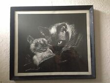 Vintage 1960s Framed Cat and Kitten drawing print picture signed B Ridgley 39cm