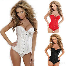 Women's Sexy Boned Lace Up Satin overbust Waist Training Corset Bustier Shaper v