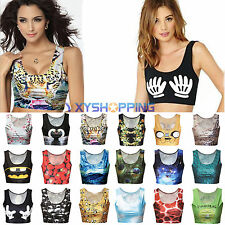 Sexy Womens Summer Digital Print Cropped Vest Tops Stretch Cami Tee Shirt Blouse