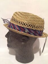 "CHRISTYS CROWN COLLECTION TERRA STRAW HAT VENTED SEAGRASS FEDORA ""NWT"""