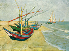 Poster Vintage VAN GOGH FISHING BOATS by Van Gogh print paper or Canvas Giclee