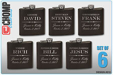 6 Personalized Engraved Flasks, Groomsman Gifts, Wedding Bridesmaid Party
