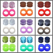2 PAIRS EAR GAUGES-ORG​ANIC STONE EAR PLUGS & SOFT SILICONE FLESH TUNNELS PLUGS
