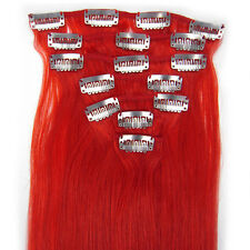 """Clip In/On Remy Real Human Hair Extensions Straight Red 15""""18""""20""""22""""7PCS 70g"""