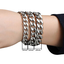 Men New Stylish Trendy Stainless Steel Silver Curb Link Chain Bracelet Jewelry