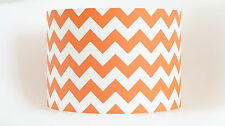 Lampshade in orange and white chevron zig zag fabric drum lampshade handmade