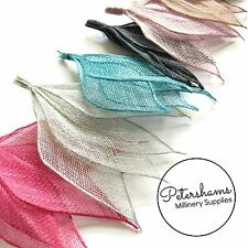 4 Hand Rolled Sinamay Fabric Leaf Hat Trim for Millinery Fascinators & Hats