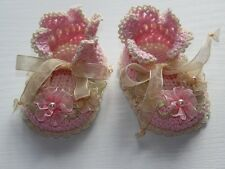 "Luxurious light pink/creme crochet 3 1/4"" booties shoes for reborn baby doll"