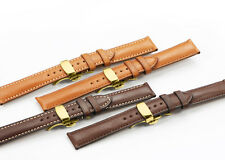 18mm-22mm Genuine Leather Watch Band Strap and  Deployment Clasp For Herbelin