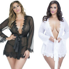 Women Sexy Lingerie Plus Size Gown Robe with Thong Sheer Lace Nightwear Dress