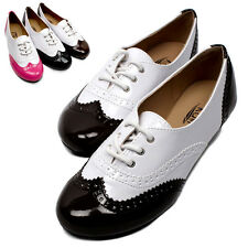 Womens Enamel Oxfords Low Heels Flats Ladies Round Toe Lace Up Flat Shoes New