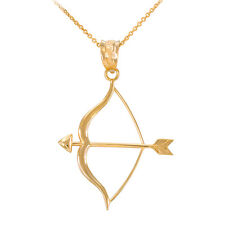 Polished 14k Yellow Gold Aim Bow and Arrow Goals Pendant Necklace