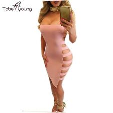 Sexy Hollow Cut Out Side Bandage Bodycon Bandeau Evening Night Club Party Dress