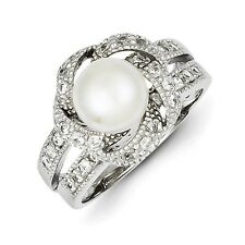 Sterling Silver Round White Simulated Pearl and CZ Ring 5.76 gr Size 6 to 8