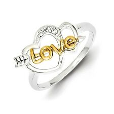 Sterling Silver Two Hearts Ring With Clear CZ & Vermeil Love Arrow Size 6 to 8