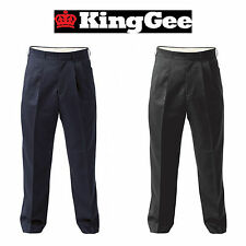 Mens KingGee Front Pleat Permanent Press Trousers Pants Easy Care Work K03550