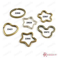 Iron Star Plum Round Oval Heart Shape Key Rings Key Chains Findings 22866