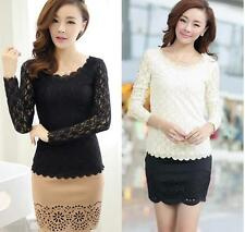 Ladies Lace Casual Blouse  T-Shirt Long Sleeve Top Women Fashion Stretch O-neck