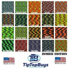 "550 Paracord Hero Zombie Colors With Option of 3/8"" Black Buckles *Walking Dead*"