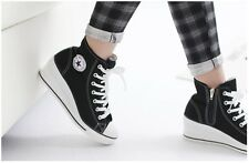 Ladies Women Wedge Heel Shoes Sneakers Ankle Boots Platform Casual Laces Zippers