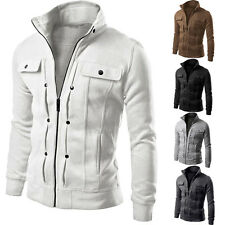 Mens Fashion Slim Fit Casual Cotton Warm Jacket Basic Coat Stand Collar Tops New