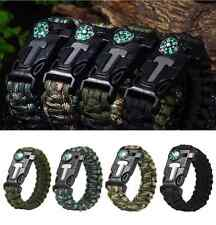 Paracord Rope Survival Bracelet 5 in1 Flint Fire Starter Compass Whistle Camping