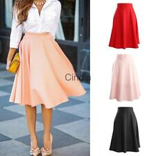 Retro High Waist Solid Color Flared OL Midi Skirt Business Work Skirt for Women