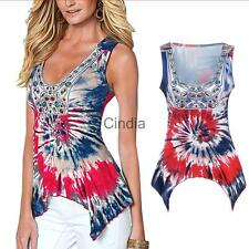 Women Summer Vest Irregular Sleeveless Blouse Casual Tank Tops T-Shirt Blouse