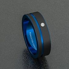 NEW Mens Wedding Band 8mm Black Brushed Tungsten Ring Thin Side Blue Groove